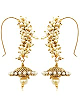 Chandni pearl golden bali jhumka hoop Indian Pakistan ADIVA antique earring o133