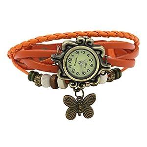 Leather Bracelet Watch with Butterfly Charm - Orange