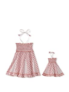 Me & Dolly by 4EverPrincess Girl's Swingy Dress (Red/White)