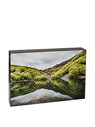 Art Block Hills Reflection - Fine Art Photography On Lacquered Wood Blocks