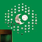 ZEESHAAN 3d mirror stars and the moon sticker