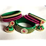 Silk Thread Bangle with Jhumka Earring Set - Green, Pink