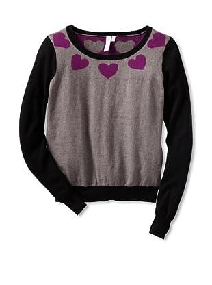 Shae Women's Heart Neck Sweater (Shale/Dahlia/Black)