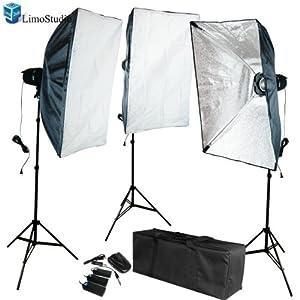 LimoStudio Photo Video Studio Flash light Umbrella Kit 1 x Reflector Umbrella 1 x Diffuser Umbrella 2 x Light Stand with Light & Umbrella Holder Clamp 2 x 45 Watt Bulbs AGG395 540W Flash Strobe Lighting Kit AD