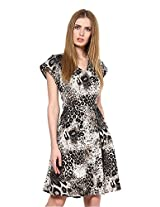The Gud Look Women's Polyester Cream Larrisa Fit & Flare Dress