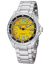 Stuhrling Original Men's 382.331118 Prestige Swiss Regatta Captain Quartz Diver Date Yellow Dial Watch