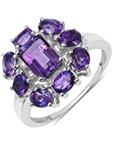 2.34CTW Genuine Amethyst .925 Sterling Silver Floral Shape Ring