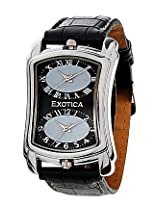 Exotica Black Leather Analog Men Watch EX 40 DUAL B