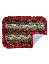 Patricia Ann Designs Ruffles Cheetah/Natural Cuddle Stroller Blanket, Tan, Brown, Red