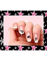 20 Valentine Black Hearts 2 Nail Art Decals