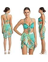 Lovable 3 Piece Sea Green Retro Print Sarong Set With Matching Boyleg Bottom