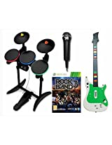 X Box 360 Rock Band 3 Video Game W/Guitar, Hero Wireless Drums/Mic Bundle Set