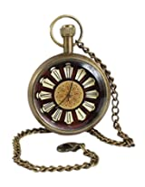 Antique Hollow Case Retro Roman Numerals Dial Mechanical Pocket Watch Brass Metal - 1.5 Inch