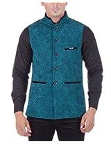 The Cosmos Men's Velvet Slim Fit Suit (TCS JKT 002, Green, 44)
