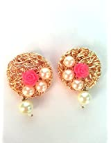 Gold Plated Drop Earringss for Workwear Use, With Filigree Theme and Floral Collection