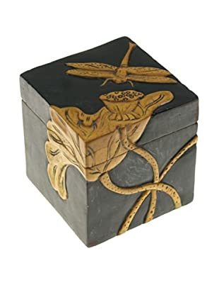 The Niger Bend Small Soapstone Cube Box with Dragonfly/Lotus Design
