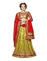 Manvaa Green And Red Net Embroidered Lehenga
