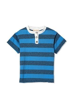 Upper School Boy's Grey Stripe Henley (Blue)