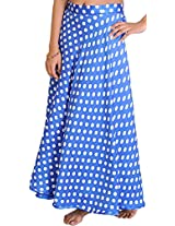 Exotic India Wrap-Around Skirt with All-Over Polka Printed Dots - Color Royal BlueGarment Size Free Size
