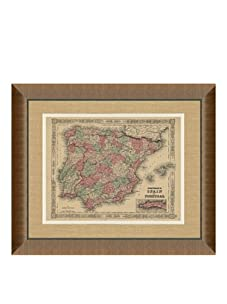 """Johnson and Ward Antique Map of Spain & Portugal, 1860's, 24"""" x 26"""""""