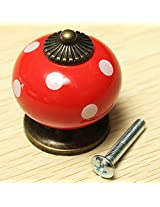Vintage Dot Round Ceramics Drawer Knob Cabinet Pull Handle Cupboard Door Handle (Red)