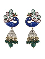 Be You Striking Blue Colour Meena Work Victorian Look Rhodium Plated Brass Peacock Style Earring for Women