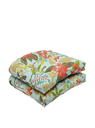 Pillow Perfect Set of 2 Outdoor Fancy a Floral Caribbean Wicker Seat Cushions, Blue/Brown