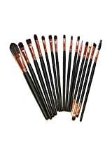 Kolight 15pcs Cosmetic Makeup Brushes Set Powder Foundation Eyeshadow Eyeliner Lip Brushes For Beautiful Female (Black+Gold Rose)