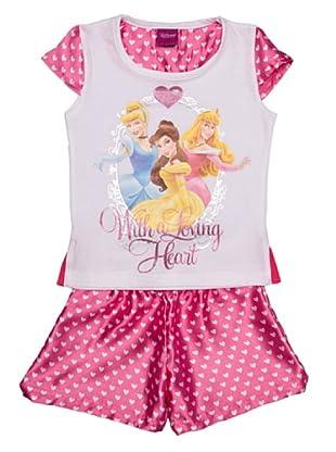 Disney Princess Pijama Niña Manga Corta (Rosa)