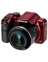 Samsung WB1100F 16.2MP CMOS Smart WiFi and NFC Digital Camera with 35x Optical Zoom and 3.0-inch LCD (Red), 4GB Card, Camera Pouch with Free Samsung Backpack