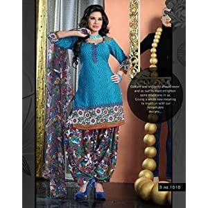 Variation Blue Printed Dress Material For Women