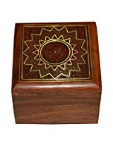 Jewellery Gift Box Square Shape Wood Carving with Floral Brass Inlay Design