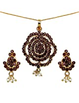 13.30 Grams Maroon Cubic Zirconia Gold Plated Brass Pendant Set