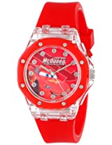 Disney Kids' CZ1070 Cars Lightning McQueen Light-Up Watch with Red Rubber Strap