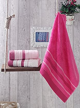 Homemania Handtuch 3er Set Flora rosa 50 x 90 cm