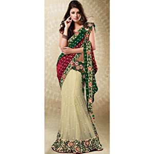 Green and Cream Faux Georgette Lehenga Style Saree With Blouse