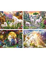 4 Pack of 100pc Glitter Puzzles - Unicorns