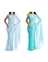MemSahiba Women Semi-Chiffon Saree set of 2 (MS-1086-1045)