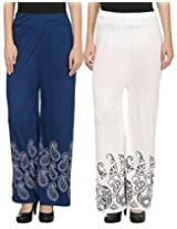 Awadh Women Blue & White Printed Cotton Palazzo Pants Pack Of 2