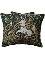 """2 Unicorn Medieval Green Jacquard Woven Tapestry Cushion/pillow Cover Case 17"""""""