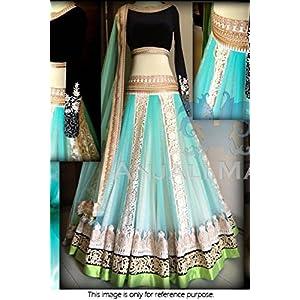 Bollywood Style Model Net and Velvet Lehenga In Sky Blue Colour NC1041