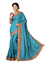 Indian Firozi Party Wear Saree Zari Booti Pallu Work Ethnic Silk Sari
