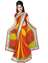 Kala Sanskruti Chiffon And Art Silk Bandhej Design Saree With Work [KSA3XI-47_Red And Yellow]