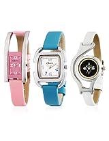 Oleva Set of 3 Ladies Leather Watches
