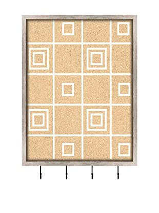 PTM Images Square Pattern Key/Jewelry Organizer with Cork Backing, White