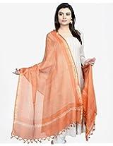 Silk Kota Bindi Bhoomi Dupatta-Orange