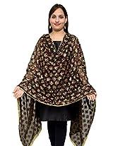 S.K. Ethnic India Women's Cotton Hand Embroidered Dupatta (Black_Free Size)