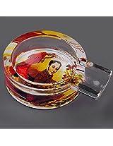 Tomato Juice Bolivar Printed Round Glass Cigarette / Cigar Ashtray