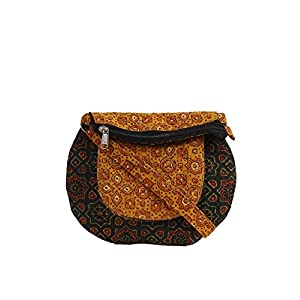 EthnicShack Green and Yellow Pocket Ajrakh Printed Cross Body Bag