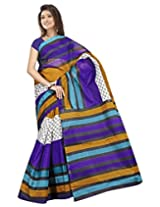 Saran Polycotton Broad and Pin Stripped Saree (SAC09_Multicolored)
